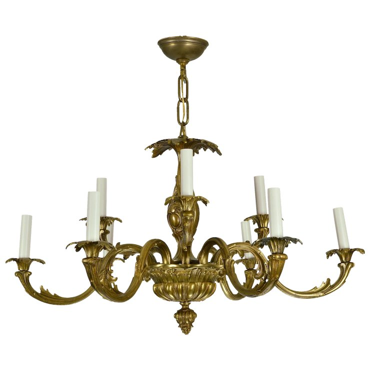 Vintage brass french baroque chandelier sold ruby lane vintage brass french baroque chandelier aloadofball Images