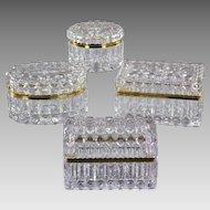 Set 4 Vintage French Glass Casket Boxes