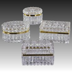 Set 4 Vintage French Glass Casket Boxes