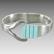 Vintage Mexican Escorcia Clamper Bracelet .950 Sterling Silver