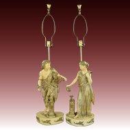 Pair Large Vintage Figural Lamps - Harp, Torch & Birds