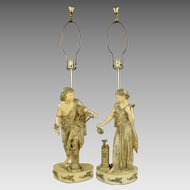 Pair Large Vintage Figural Lamps - Harp, Torch & Birds