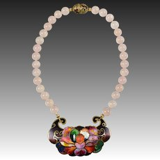 Vintage Champleve David Kuo Necklace - Rose Quartz Beads