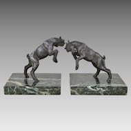 Pair Vintage Rearing Goat Bookends on Green Marble Bases - 1930s