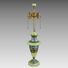 Vintage French Green Onyx and Brass Champleve Lamp