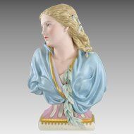 Antique Copeland Tinted Porcelain Lady 'Winter' Bust - Owen Hale 1881