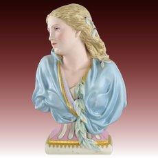 Antique Copeland Tinted Porcelain Lady 'Winter' Bust - Owen Hale 1881