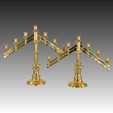 Antique Bronze Articulated Candelabra - Church Alter - 7 Candle Holders