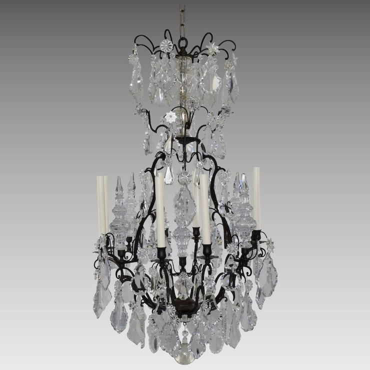 Antique French Bronze and Crystal Chandelier - 8 Lights - Antique French Bronze And Crystal Chandelier - 8 Lights : The Old