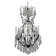 Antique French Bronze and Crystal Chandelier - 8 Lights