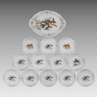 Antique German Porcelain Game Set - Rabbits and Fowl - Transfer and Hand Painted