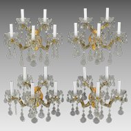 Set 4 Vintage Maria Theresa Italian 5 Light Sconces