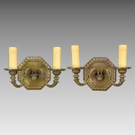 Pair Vintage Octagonal Cast Bronze Sconces