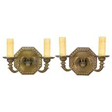 Pair Vintage Octagonal Cast Bronze Sconces