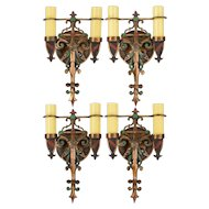Set Four (4) Vintage Spanish Revival Wall Sconces - Polychrome Bronze