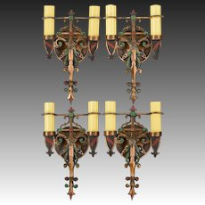 Set 4 Vintage Spanish Revival Wall Sconces - Polychrome Bronze