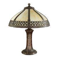 Vintage Slag Glass Arts & Crafts Lamp 'Hammered'
