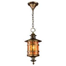 Vintage Crackle Glass Lantern Pendant Light Brass - Max Shaffer Co 1928