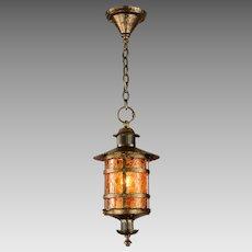 Vintage Crackle Glass Lantern Pendant Light Brass - Max Shaffer Co 1928
