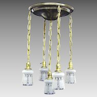 Vintage Flush Mount Brass Shower Fixture - 5 Original Etched Shades