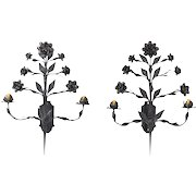 Huge Vintage Pair Hand Wrought Iron Rose Sconces