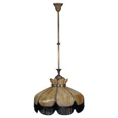 Bent Slag Glass Light Fixture - Gas/Electric