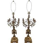 Pair Gilt Bronze Napoleon III French Candelabra Lamps