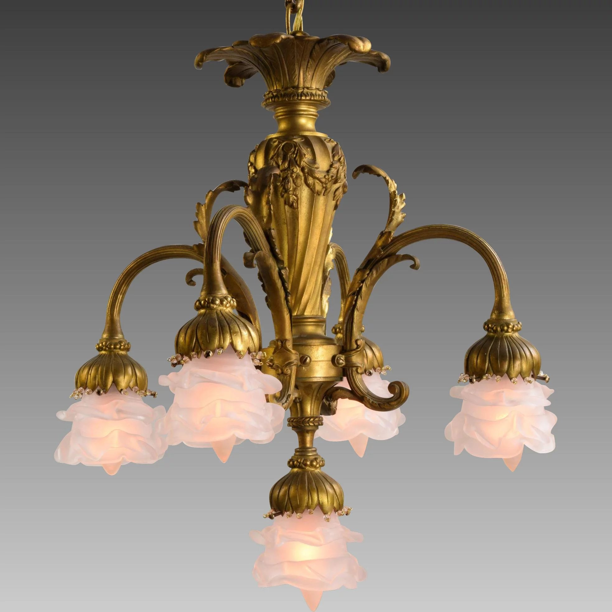 Antique French Gilt Bronze 5 Light Chandelier With Flower