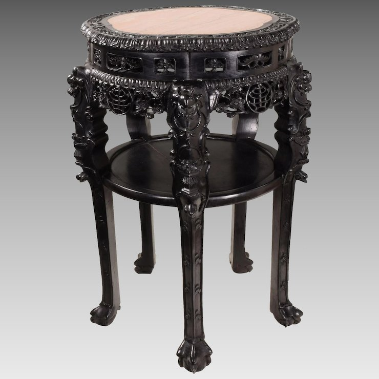 Large Antique Chinese Hand Carved Rosewood Table with Marble Top - Large Antique Chinese Hand Carved Rosewood Table With Marble Top