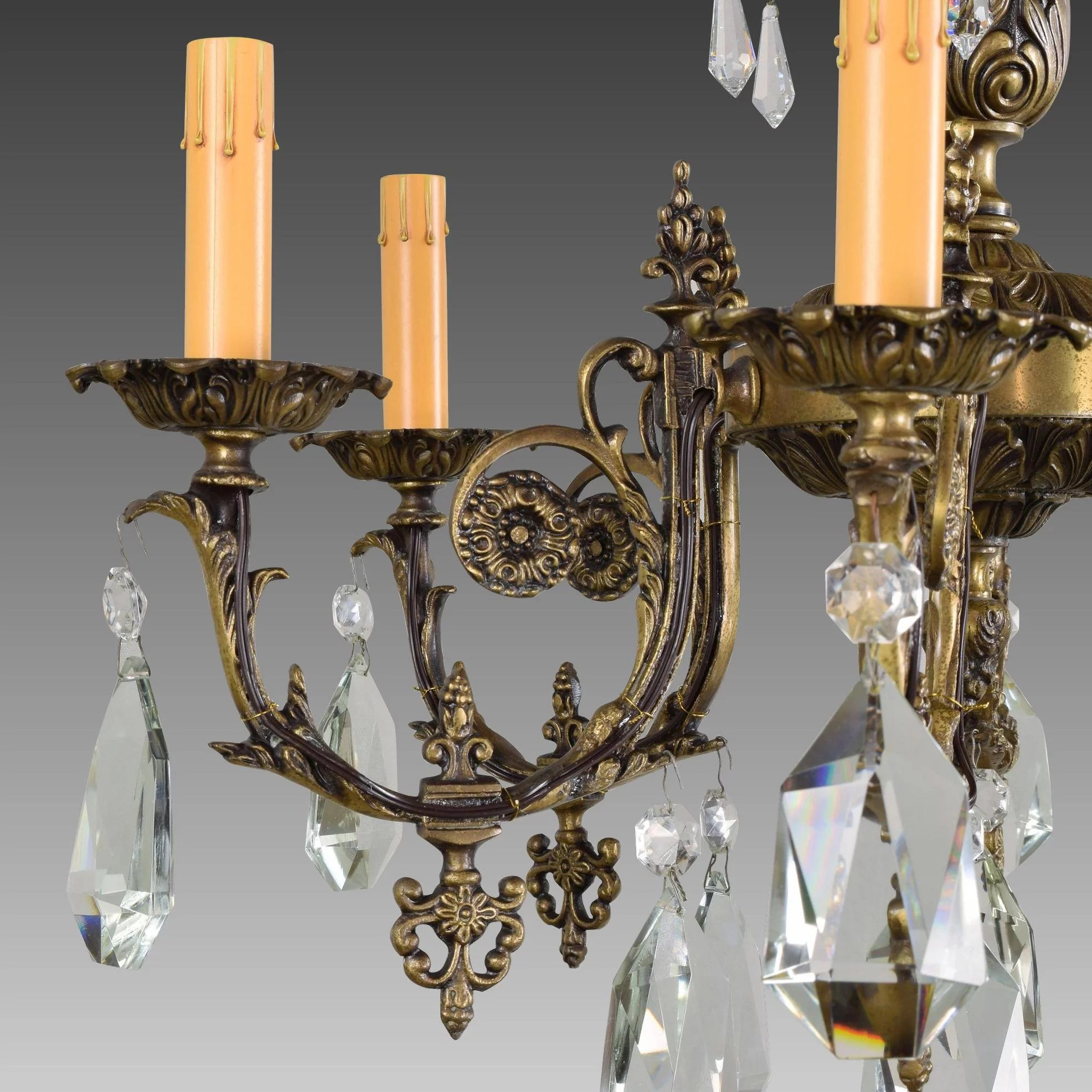 Vintage French Bronze And Crystal 6 Light Chandelier : The