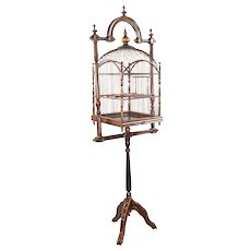 Antique Victorian Mahogany and Wire Hanging Birdcage BIrd Cage with Original Stand