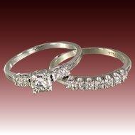 Mid-Century Diamond Wedding Ring Set in 18 karat Gold - Original Box - 1951 Finlay Straus
