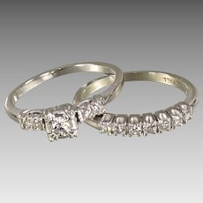 Mid-Century Diamond Wedding Ring Set in 18 karat Gold - Original Box - 1951 Finlay Straus