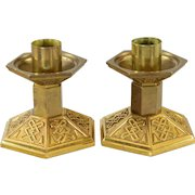 Pair Antique Embossed Brass Church Candlesticks