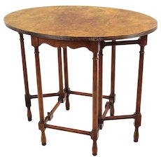 Vintage Baker Furniture Petite Drop Leaf Table - Burled Walnut