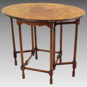 Vintage Baker Furniture Petite Drop Leaf Table - Burled Walnut