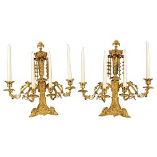 Pair Antique Gilded Brass 4 Light Candelabra with Unusual Hanging Finials