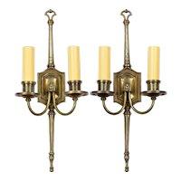 Pair Vintage English Bronze 2-Light Sconces