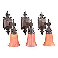 3 Antique Bronze Wall Sconces with Carnival Glass Shades - Age Darkened Patina