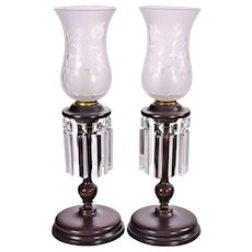 Pair Antique Mahogany Colonial Style Electric Buffet Lamps with Prisms and Etched Shades