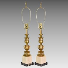 Pair Vintage Bronze and Marble Converted Candlestick Table Lamps