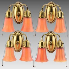 Set 4 Vintage Brass Miller 2-Light Sconces with Nuart Carnival Glass Shades