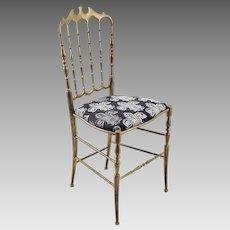 Vintage Chiavari Brass Chair with Fleur de Lis Seat