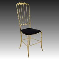 Vintage Chiavari Brass Chair with Black Velvet Seat