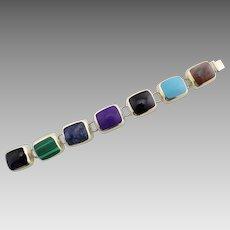 Vintage Mexico Sterling Silver 925 Gemstone Bracelet - Lapis, Onyx, Turquoise, Malachite, Sugilite