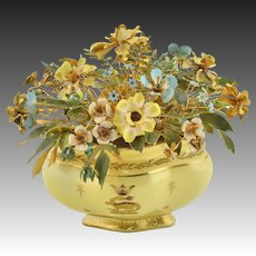 Jane Hutcheson - Gorham Fleurs des Siècles French Yellow Gilded Base with Dragon and Fleur-de-Lis
