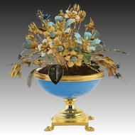 Jane Hutchinson Fleurs des Siècles with French Blue Opaline Glass and Gilded Bronze Base