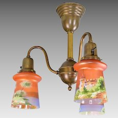 Antique Brass 3 Light Ceiling Fixture with Czech Scenic Enameled Castle Shades