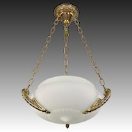 Vintage Chain Suspended Satin Opaline Glass Bowl Light Fixture Embossed Arms