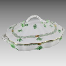 Vintage Herend Covered Vegetable Chinese Bouquet Green 51/AV 1994
